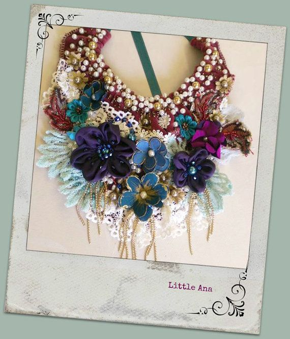 Bohemian necklace hand beading statement by CorinaComarnitchi