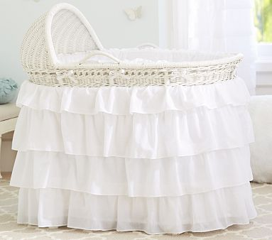 Thinking of making a ruffle skirt for the bassinet... Burlap, grey & ivory.