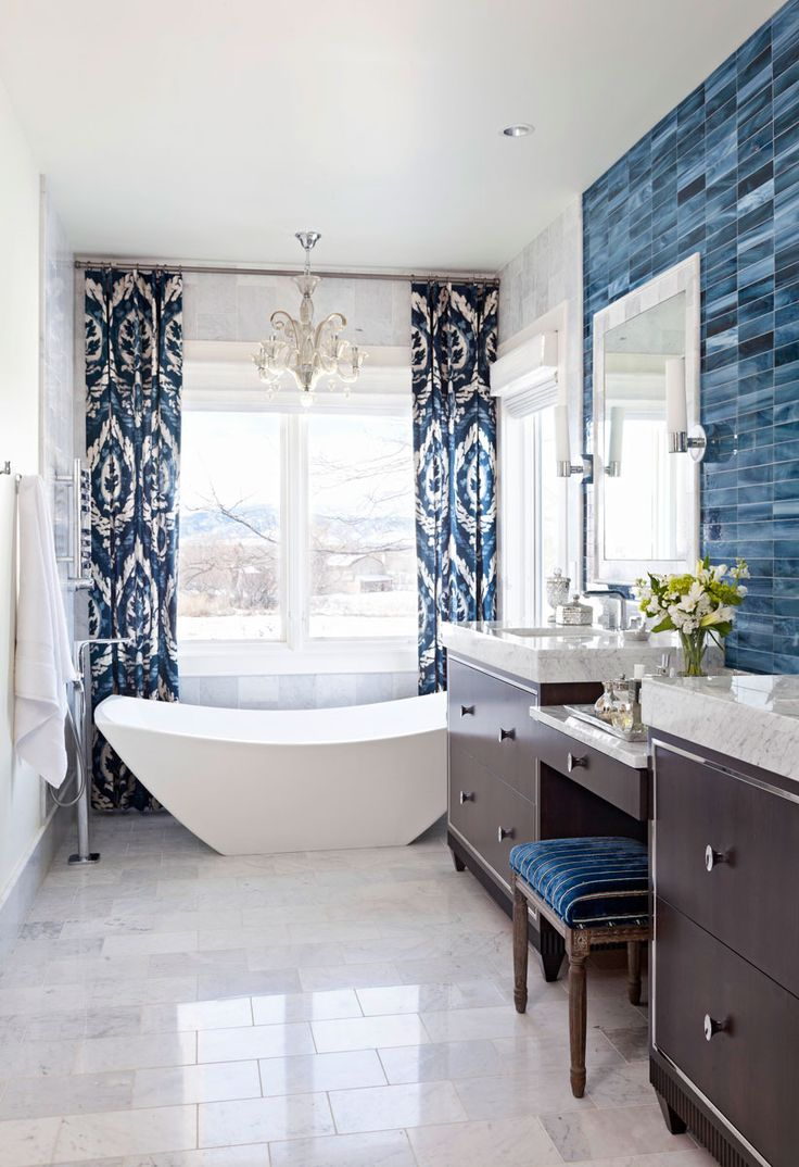 Dark blue and white bathroom - Decorating Ideas For Blue And White Bathrooms Traditional Home