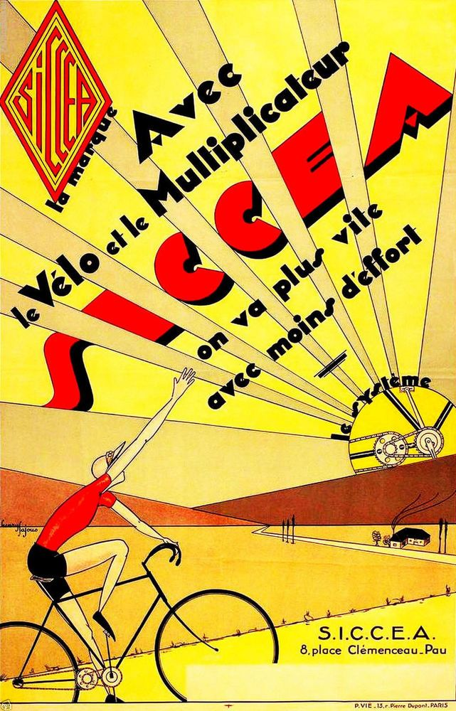 Vintage Art Deco Cycling Poster Advertising Siccea Bicycles 11 x 17 Giclee print