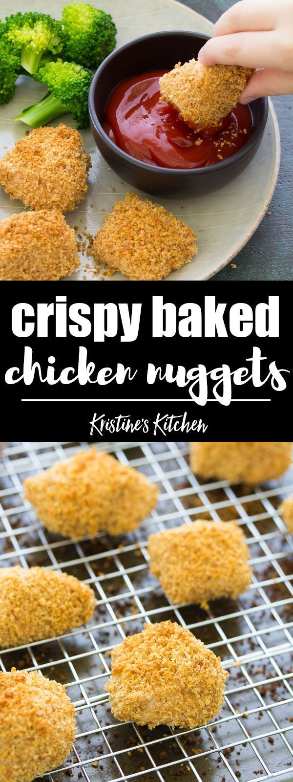 An easy recipe for how to make crispy baked chicken nuggets for kids. Egg free and dairy free. Use either homemade or store bought breadcrumbs. Your kids will love these healthy homemade chicken nuggets! They are freezer friendly - make ahead a big batch for meal prep! #kidfriendly #chickenrecipes #healthyrecipes #mealprep
