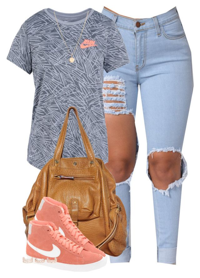 """""""You don't want no problems, want no problems with me, bih!"""" by cheerstostyle ❤ liked on Polyvore featuring NIKE, Jérôme Dreyfuss, New Look and Laura Lee"""