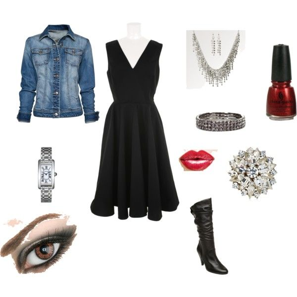 Denim and diamonds outfit with little black dress denim for Outfit ideas for dinner party