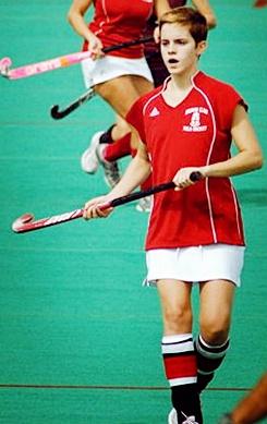 Emma Watson playing field hockey for Brown.