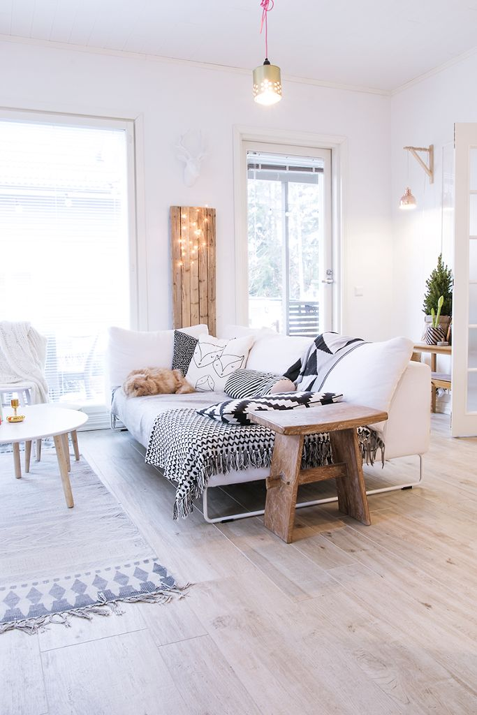 white + natural woods salon living