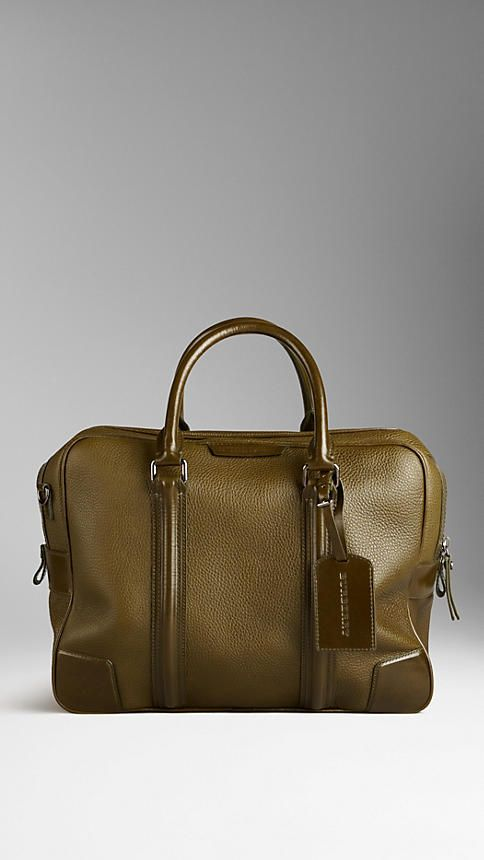 BURBERRY - SMALL LONDON LEATHER HOLDALL, $2,095.00, Item 38617251, COLOUR: OLIVE, Sartorial London leather holdall with polished leather trim Zip closure, leather luggage tag containing vintage-finish metal key, push-button clasp Rolled leather handles and detachable webbed shoulder strap Polished metal hardware, 40 x 32 x 16cm 15.7 x 12.6 x 6.3in 100% calf leather.
