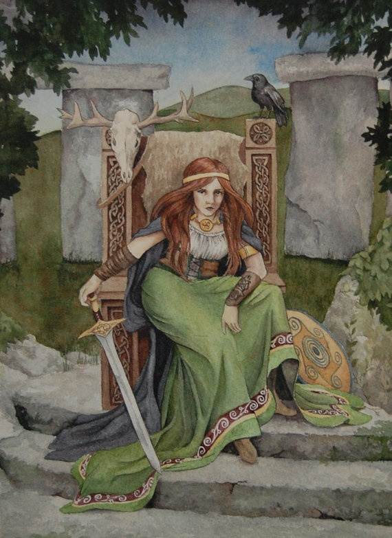 """Maeve"" is a portrait of the warrior queen from Celtic mythology. She is a headstrong and ruthless queen who has ties to the faerie world and plays a crucial role in the Celtic tale of the Cattle Raid of Cooley."