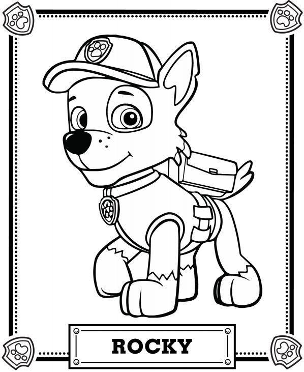 Fiesta de paw patrol -- Los coloreables, seguro a tus invitados les encanta colorear con crayones!!  ROCKY paw-patrol-rocky