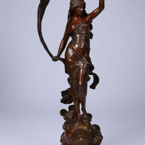 "AUGUSTE MOREAU  Epoque : 1890 Dimensions : H. 76cm. L. 28cm.   ""The Breeze"" Bronze clock with brown patina, late 19th century, artist's signature on the base."