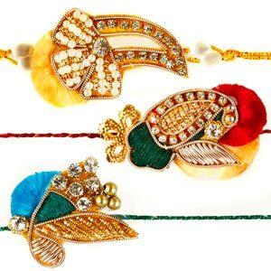 This splendid set of 3 rakhis are artistically designed with zardozi work, diamonds, color beads, and sequins. Rs 449/- http://www.tajonline.com/rakhi-gifts/product/rdr60/zardozi-rakhi-set-of-3/?Aff=pint2014/