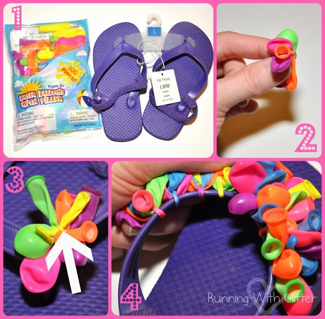 Flip flop crafts | ... Blogger - Running With Glitter - Water Balloon Flip Flops and Barrette