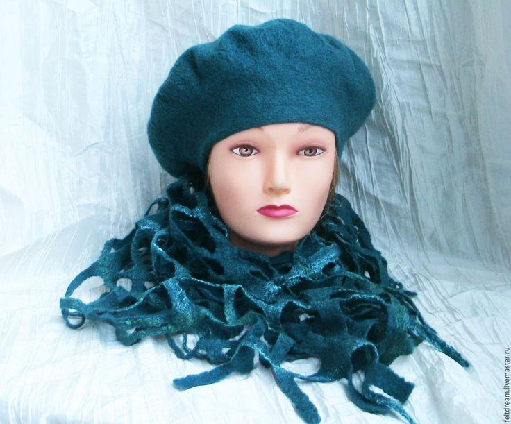 """Купить Комплект """"Ирландия"""" берет и шарф-сетка. Войлок. - тёмно-бирюзовый, однотонный, берет валяный"""