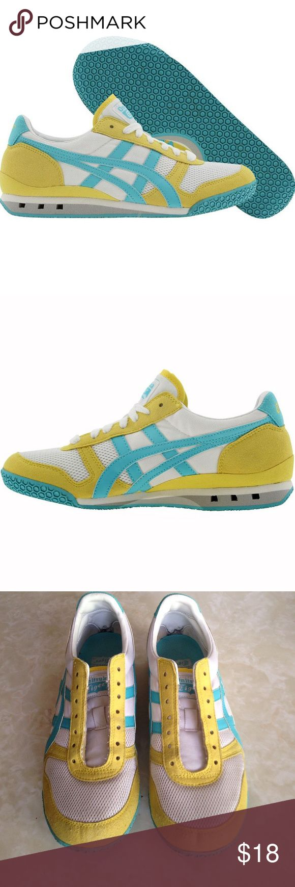 Onitsuka Tigers Ultimate 81 Sneakers White, yellow and Capri blue. Very light wear. Still in fantastic condition. Laces included. Onitsuka Tiger Shoes Sneakers
