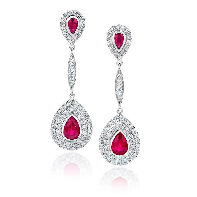Jeffrey Daniels Diamond and Ruby Earrings
