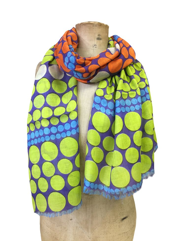 Rachel - all over spot Hem&Edge scarf #lime #orange 100% modal 70x180cm #spots #bigboldbright #scarf #accessories #onebutton #hemandedge Click to buy from the One Button shop.