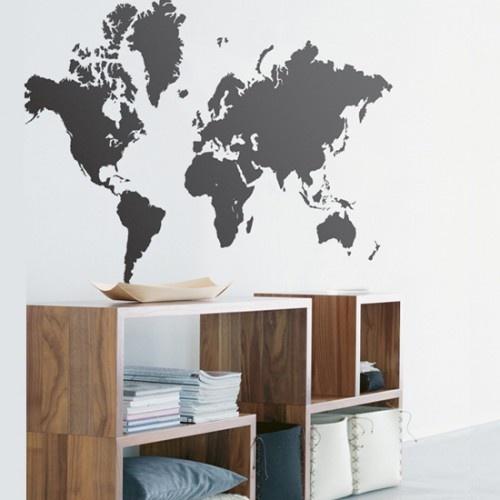 Wereldkaart Muursticker Ferm Living - http://www.decoraza.nl/zwarte-wereldkaart-muursticker-ferm-living.html