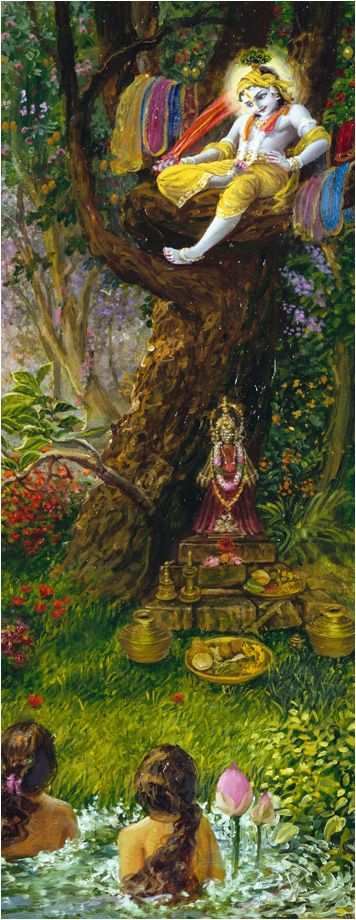 """Upon hearing this appeal by the unmarried gopīs, Kṛṣṇa answered, """"My dear girls, if you think that you are My eternal servitors and you are always ready to execute My order, then My request is that, with your smiling faces, you please come here alone, one after another, and take away your garments. If you do not come here, however, and if you lodge complaints to My father, I shall not care anyway, for I know My father is old and cannot take any action against Me."""