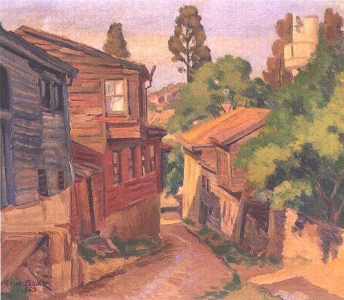 Şeref Akdik | Üsküdar'dan Bir Sokak (1965)  Tuval Üzerine Yağlıboya