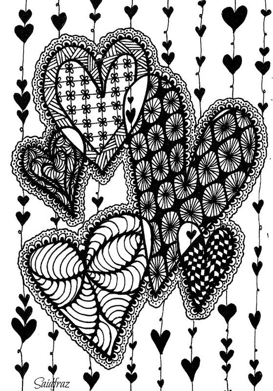 heart zentangle coloring pages - photo#17