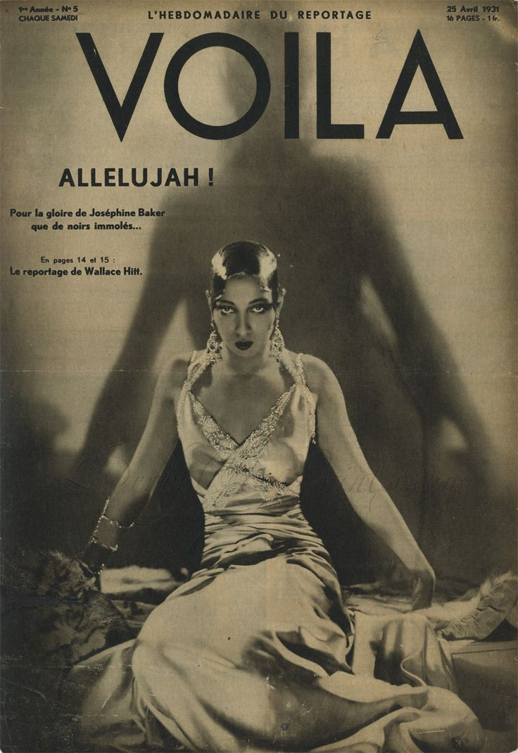Josephine Baker on the cover of Voila, 25 April, 1931.