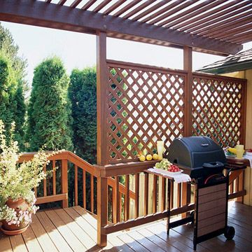 Lattice-Panel Deck Privacy Screen  Lattice-Panel Deck Privacy Screen  It's easy to add privacy to any deck. Just position a lattice panel where you need a screen. Here, a pair of simple lattice panels tops a slatted fence on a deck to shield the deck from view of the neighbors, as well as offer protection from the elements.