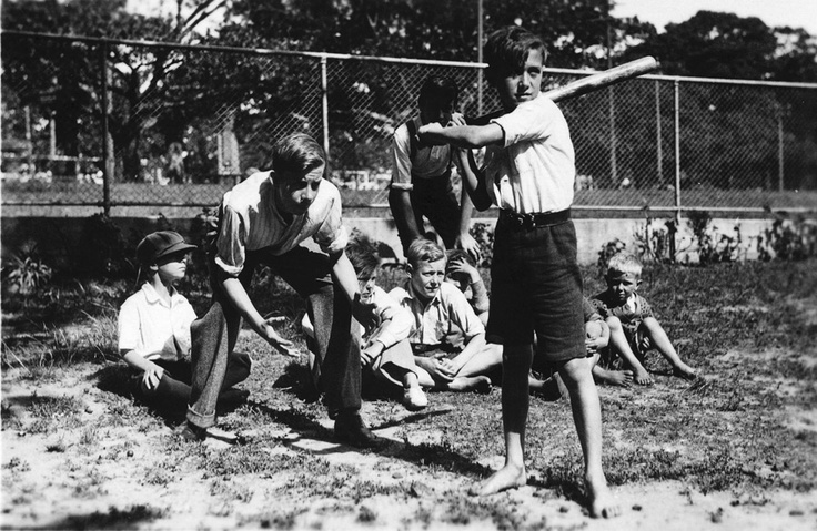 1936: a group of young lads playing baseball on the corner of Moore Park Rd & Anzac Parade. #cityofsydneyarchives #history #archives #sydney #baseball