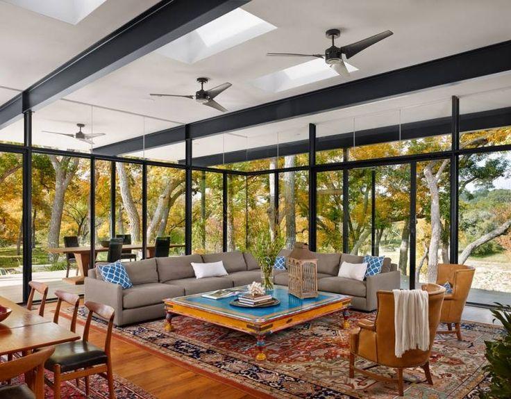 Modern living room with floor to ceiling windows. DeaVita.Fr. http://www.kenisahome.com