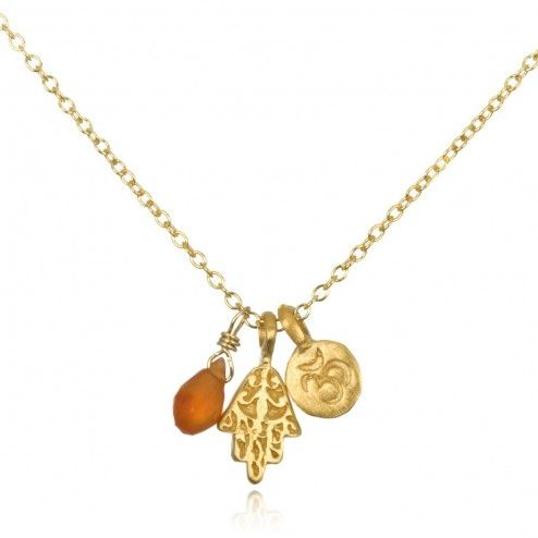 Satya Gold Carnelian Om and Hamsa Necklace at aquaruby.com