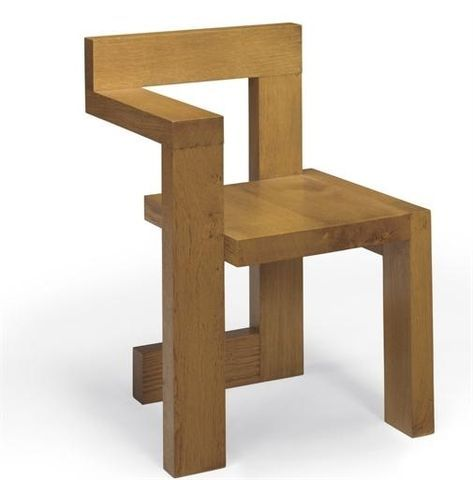 Artwork by Gerrit Rietveld, An Oak 'Steltman' Chair, Made of oak, executed by Gerard van de Groenekan, circa 1970