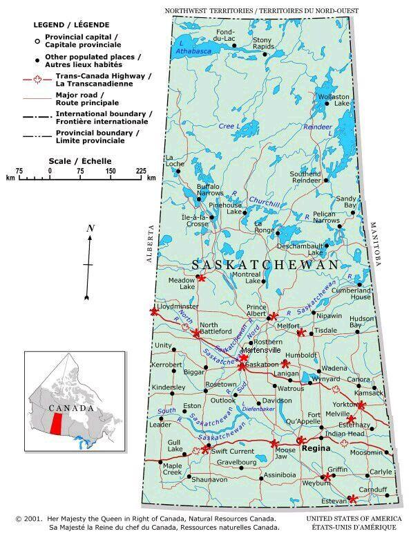 map of Saskatchewan | sask cities lesson | Canada, Route