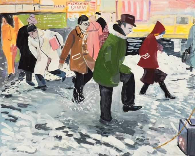"""Illustration by Maira Kalman, based on Barney Ingoglia's photograph for the New York Times article """"Rain Raises Fears of Flooding: Pedestrians in Times Square Wading through a Puddle as Heavy Rains Began Yesterday. The Rain Was Expected to Continue Today, Melting Much of the Snow and Causing Fears of Flooding,"""" January 25, 1978.  (Courtesy of The Museum of Modern Art © Maira Kalman)"""