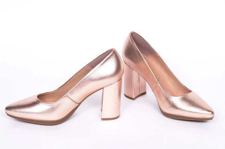 miMaO Urban Cobre –  Zapato mujer salon de tacon vestir cómodo piel - women high heels shoes copper metal   comfort pumps leather