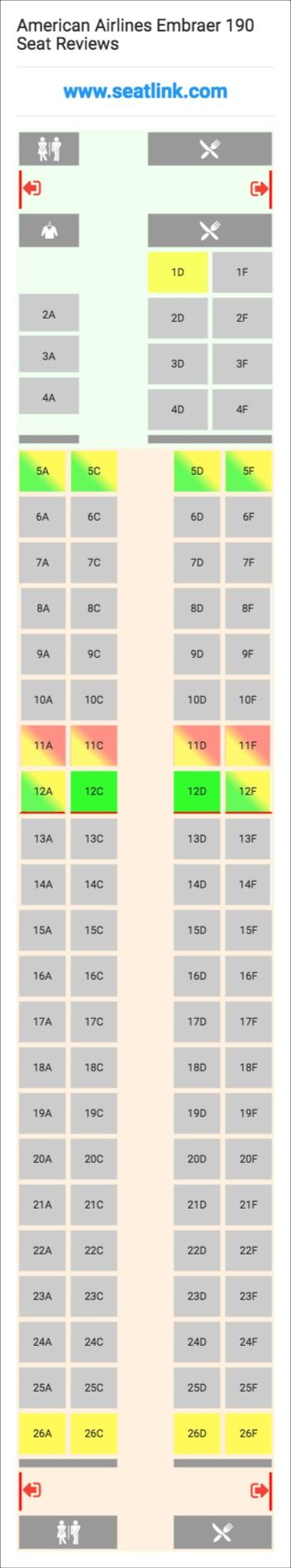 American Airlines Embraer 190  E90  Seat Map