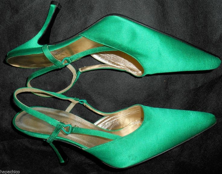 ESCADA Vintage Green Heels Satin Shoes Pumps 37 7 B Hapachico Haute Couture - Oh how I love green satin shoes!