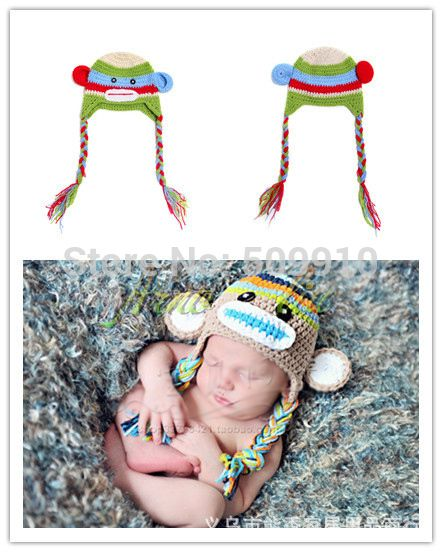 2014 New Spring Winter Monkey Design Baby Hand Knitted Hat Infant Crochet Cap Infant monkey cap 10pcs/lot free shipping