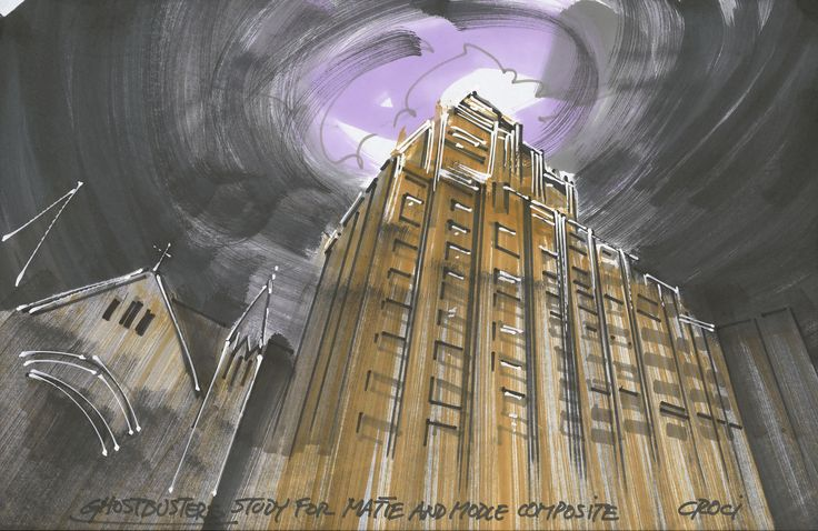 Dana S Apartment Building Ghostbusters concept/production artwork for dana's apartment building in