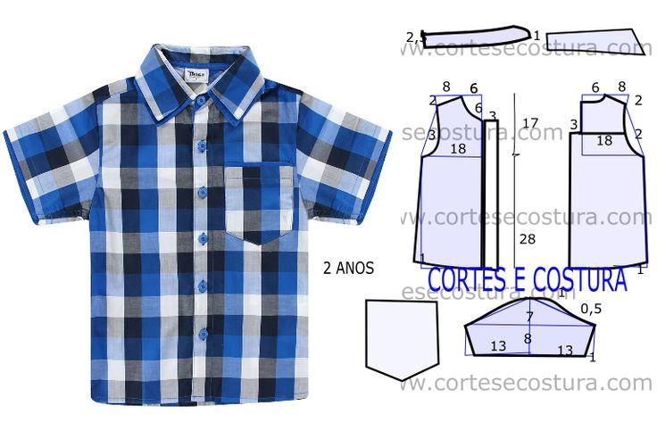A proposta de hoje é uma camisa de criança fácil de fazer para 6 a 7 anos com medidas. Com as medidas que a figura sugere faça o molde desta camisa.