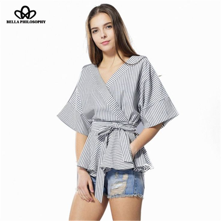 Bella Philosophy summer new women's striped cotton and linen kimono half sleeve shirt with ruffle flounced hem