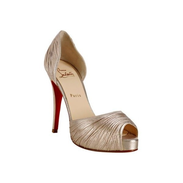 Christian Louboutin nickel pleated leather \u0026#39;Turbella\u0026#39; d\u0026#39;orsay ...