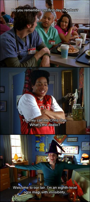 Dorm lifestyle, do you ever want it to end? Turk & JD the first day they met