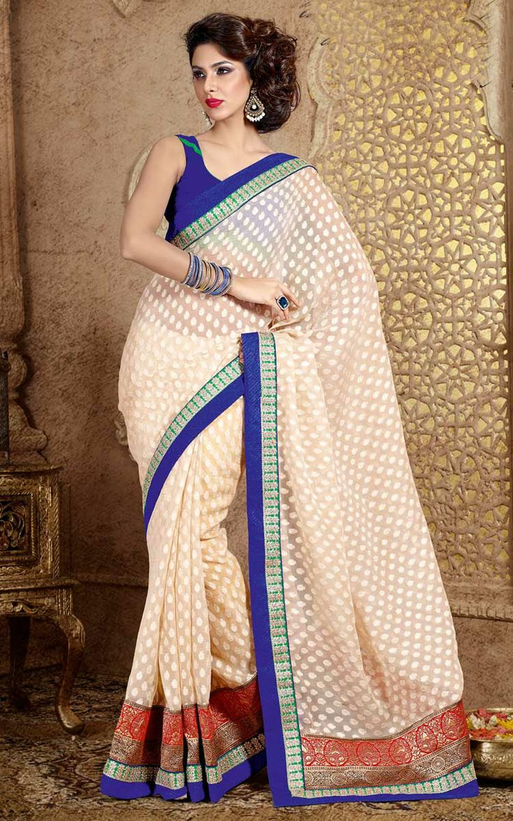 OFF WHITE COTTON EMBROIDERED SAREE - DIFF 28338