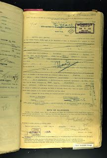 Myrtle Bailey passport renewal application China, 1919