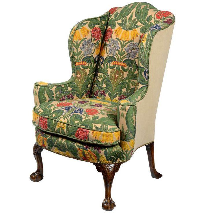 George Ii Walnut Wing Back Armchair Double Reception In