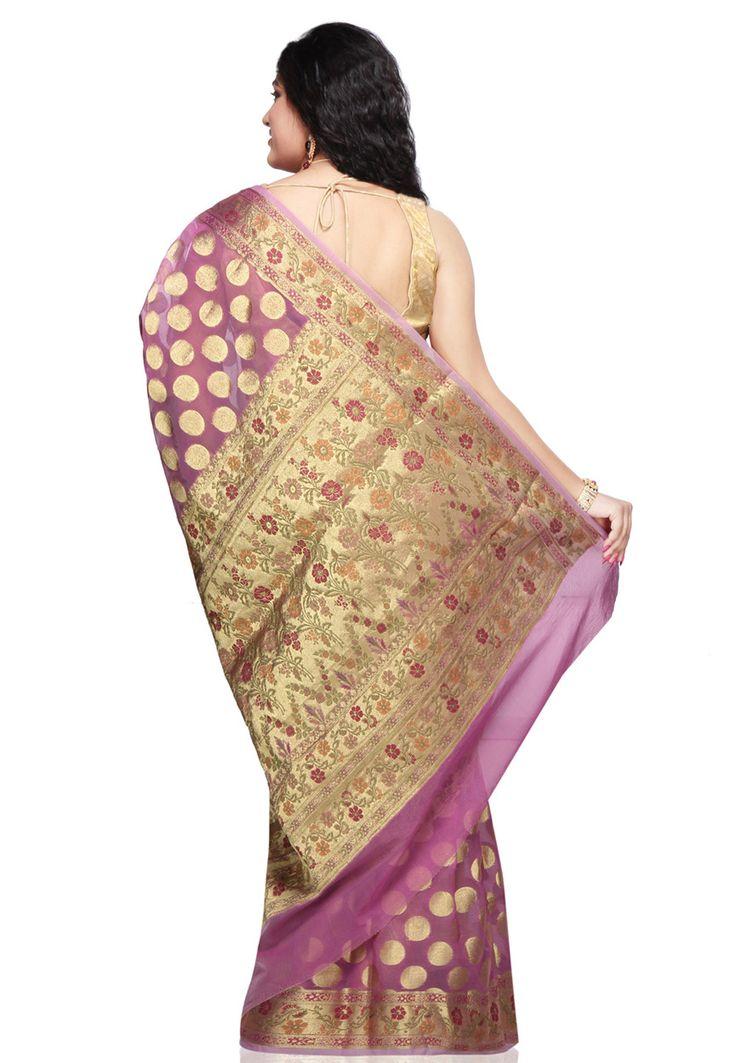 Light purple and gold polka dots from the back  http://www.utsavfashion.com/saree/light-purple-art-silk-saree-with-blouse/sava62-itemcode