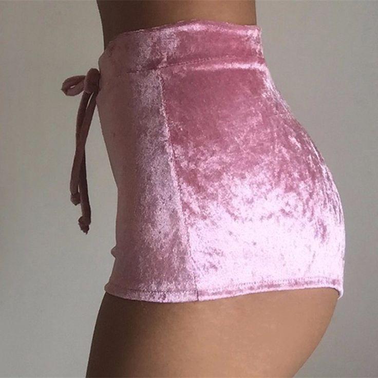 Fashion Pleuche High Waist Draw String Push Up Shorts