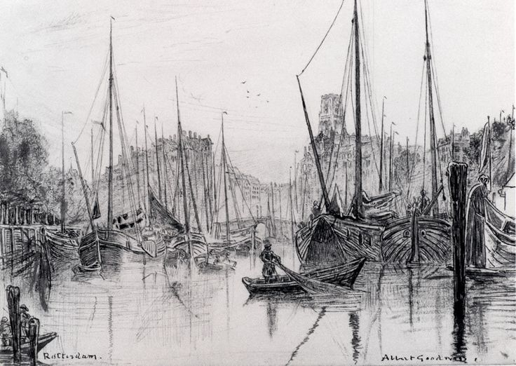 Moored Boats In Rotterdam by Albert Goodwin, Pen, ink and black chalk on pa