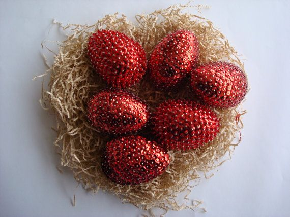 Red EggsEaster DecorationsBeaded Decorative EggEaster by Valelval