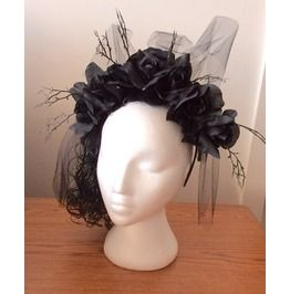 Handmade Goth Crown Of Black Roses Hair Fascinator Hairband