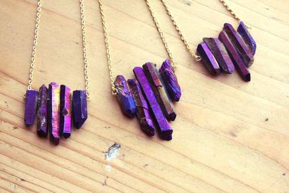 Raw Purple Flame Rainbow Aura Quartz Spike Necklace - Rough Druzy Point Arrow Boho Gemstone with Gold / Silver / Vintage Brass Chain