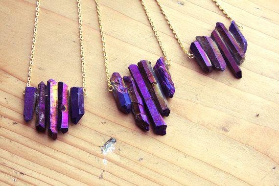 Raw Purple Flame Rainbow Aura Quartz Spike Necklace - Rough Druzy Point Arrow Boho Gemstone with Gold / Silver / Vintage Brass Chain